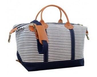 Monogrammed Stripped Weekender Bag