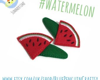 Watermelon hair clips - girls hair clips - felt hair clips - Melon hair clips - pair of hair clips for girls - girls hair accessories, UK