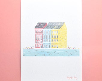 Pastel Copenhagen House - A5 Art Print