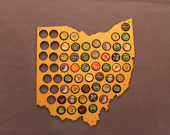 Beer Cap Map of Ohio, Large, Natural Birch finish