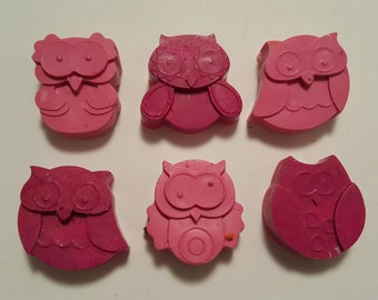 Pink Owl Crayon Party Favors - Set of 6