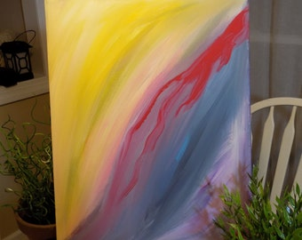 """Original Acrylic Painting, Red Abstract """"LifeBlood"""""""