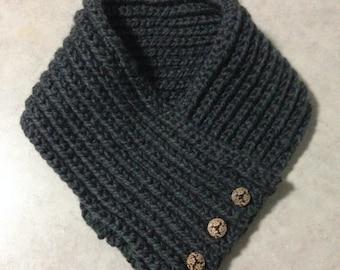 3 Button Crochet Cowl Scarf