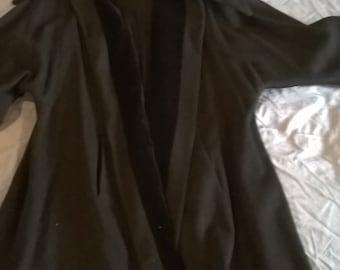 Vintage Black Wool trimmed in Black Velvet Top Coat