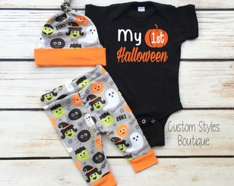 Baby Boys First Halloween Outfit, Black Infant Bodysuit, Grey And Orange Leggings And Hat, Baby Boy Halloween Outfit Set, My 1st Halloween