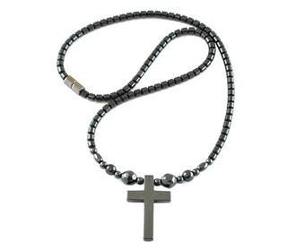 Magnetic Hematite Cross Necklace, Hematite Cross Necklaces, Magnetic Hematite Necklace with Cross Pendant (MHN-111FBK)
