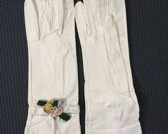 Kid Leather White Gloves