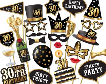 30th birthday Photo Booth props - Instant Download printable PDF. Thirtieth birthday party Photo Booth supplies. Thirty Today - 0153