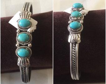 Sterling Silver 3 stone Kingman turquoise bracelet