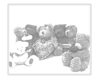 "INSTANT DOWNLOAD COLORING Page ""Teddy Bear'S Picnic"" grayscale adult coloring"