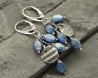 Sterling silver and kyanite - cluster earrings