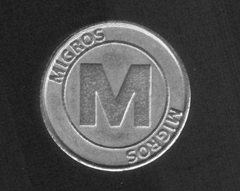 Trolley Chip for shopping cart - Migros Switzerland - Swiss trolley chip - einkaufswagenchip - jeton coin vintage token