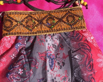 Vintage Fabric Cross Body Purse, 1970s Handmade Colorful Fabric Shoulder Bag