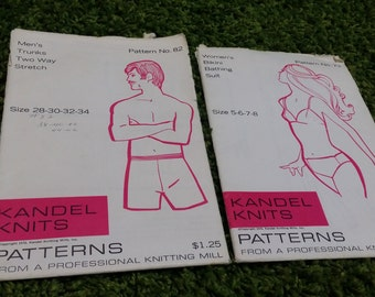 Lot of 2 knit swimsuit patterns 60s/70s