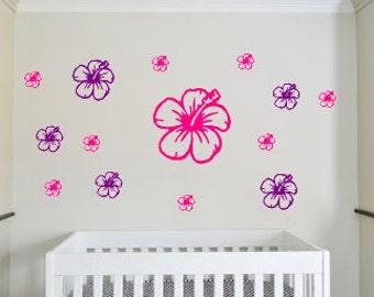 Flower Wall Decals Set Of 15 Flower Decals Nursery Wall Decals Nursery Ideas Flower Wall Art Flower Decal Set Flower Wall Stickers Flowers