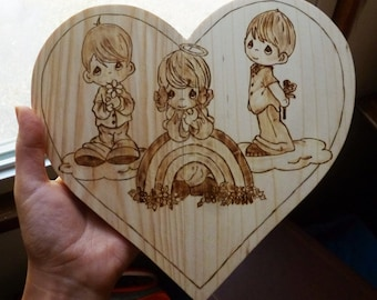 "Personalize Precious Moment Heart Plaque - Valentine's day - Pyrography - Wood burning Art- 7""x5"""