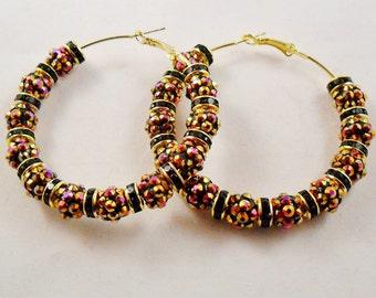 Spring Bling Brown and Black Hoop Earrings - 2.5in - Basketball Wives Style