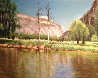 Original Landscape Drawing of Yosemite National Park in pastel
