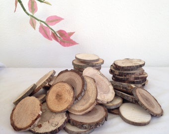 "Wood Slices (100 1""- 2"") Name Tags, Rustic Wood Slices, Crafting Supply Natural Wood Slice,  Wood for Crafts
