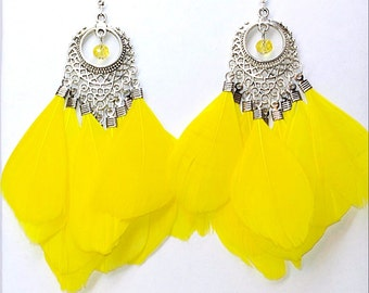 Sunny Yellow feather earrings Boho style