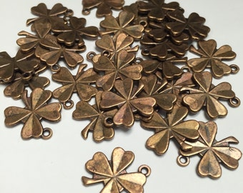 Copper Shamrock Clover Charms