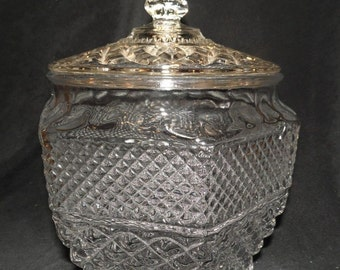 glass cookie jar-Wexford pattern by Anchor Hocking-1960