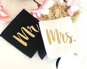 Mrs Cooler, Bridal drink holder, Wedding can hugger, Wedding gift, Bachelorette Party beer cooler, Bridal party gift, Stubby Holder, Sleeve