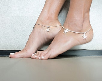 Silver Anklet, Silver Starfish Anklet, Sterling Silver Anklet, Silver Anklet Chain, (AS33)