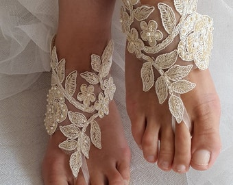 wedding shoes, summer shoes, bach shoes,barefoot sandals,Beaded, champagne  lace  shoes, wedding sandals,bridal accessories, free shipping!