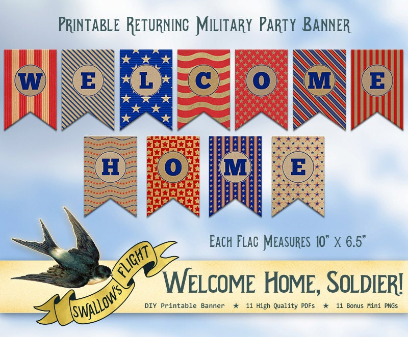 It's just a photo of Witty Welcome Home Banner Printable