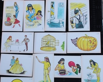 Vintage Picture Flash Cards - Yellow Ephemera Pack - Family Pictures - Set of 15