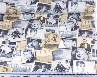 Hollywood Superstars Audrey Hepburn Marilyn Monroe James Dean Humphrey Bogart Cotton Quality Fabric Material *2 Sizes*