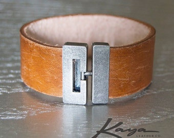 Leather Cuff Bracelet, Distressed, Mens Womens, Brushed Silver Clasp, Brown Tan Leather Cuff, Gift Him Her, Groomsmen, Bridesmaid, Birthday