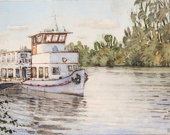 boat on the seine (watercolor)