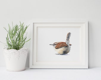 Wren print of watercolor painting W095DL, downloadable print, instant download, wren watercolour painting