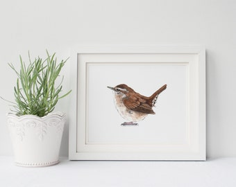 Wren print W200DL, printable wren, downloadable wren print, brown wall art, downloadable bird watercolor