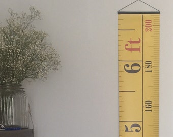Yellow Tape Measure Hanging Height Chart, Imperial & Metric Height Chart, Ruler, Ruler Growth Chart, Feet and Metres