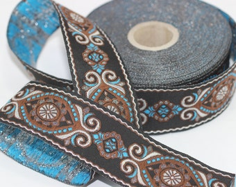 35 mm Blue&Brown Jacquard ribbon (1.37 inches) - jacquard  - Decorative Craft Ribbon - Sewing trim - woven trim - embroidered ribbon
