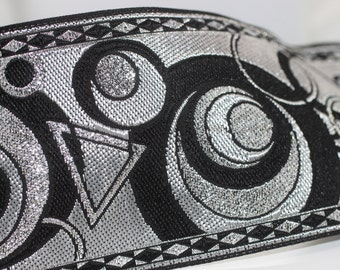 70 mm Grey Geometrical Jacquard trim (2.75 inches) - Vintage Ribbon -  Decorative Craft Ribbon - Sewing - Jacquard ribbon - Trim