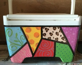 Funky Hand-Painted Cooler 9 Qt