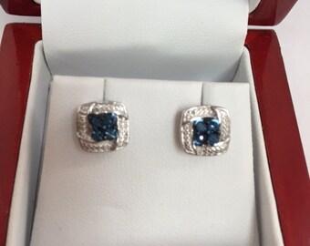 Stud Earrings with blue diamonds