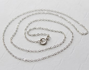 """Wholesale Sterling Silver Finished Chain / Sterling Silver Necklace Cable Chain / Bulk Jewelry Making Supplies Findings / 18"""" inch chain"""
