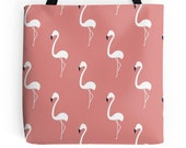 Flamingo Tote Bag - Flamingo Purse - Flamingo Handbag - Retro Tote Bag - Cute Tote Bag - Tropical Tote Bag - Cute Handbag  - Pink Tote Bag