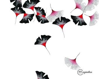 Poster Japan flowers, watercolor illustration