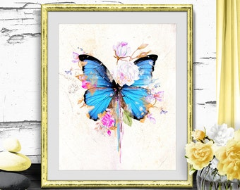 Printable Art Watercolor Wall Decor, Butterflies and Roses Print Wall Decor, Digital Print Butterfly, Abstract Watercolor Flowers Wall Art