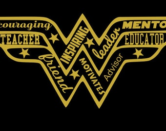 Iron On Transfer Decal Wonder Woman Teacher- Great for shirt or tote
