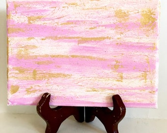 Pink Abstract Art Painting - Gold Abstract Art - Shabby Cottage Home Decor - Acrylic Painting - Canvas Art - Gift for Her - Mother's Day