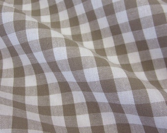 cotton fabric woven check taupe white 1cm France