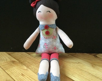 Rag doll with felt hair, rag doll, cloth doll, toddlers doll