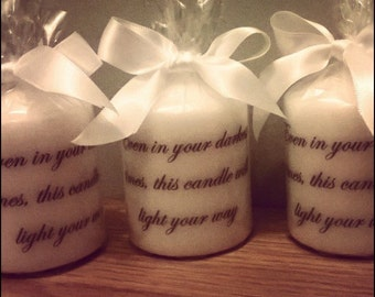 Hand printed script candles